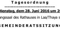 Herzliche Einladung zur GR-Sitzung am 28.Juni 2016