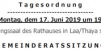 Herzliche Einladung zur GR-Sitzung am 17.Juni 2019