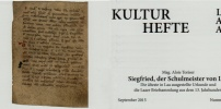 Kulturheft von Prof. Alois Toriser über Siegfried, den Schulmeister von Laa