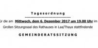 Herzliche Einladung zur GR-Sitzung am 6.Dezember 2017